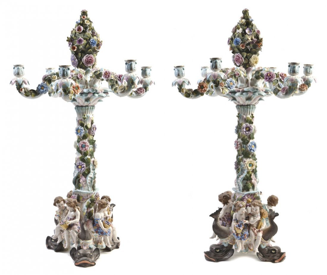 546: A Pair of German Porcelain Six-Light Candelabra, H