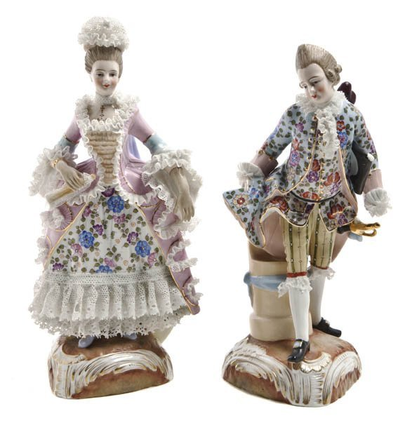 548: A Pair of Sitzendorf Porcelain Lace Figures, Heigh