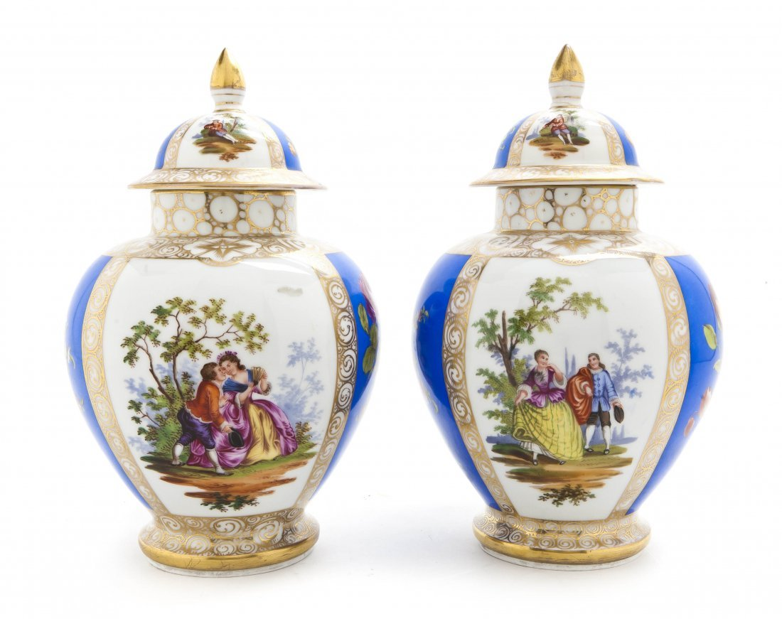 550: A Pair of Dresden Porcelain Covered Urns, Height 1