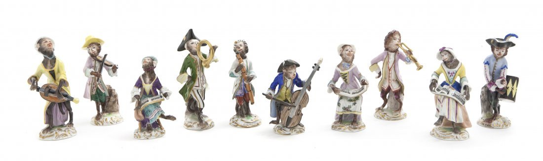 553: A Dresden Porcelain Ten-Piece Monkey Band, Height