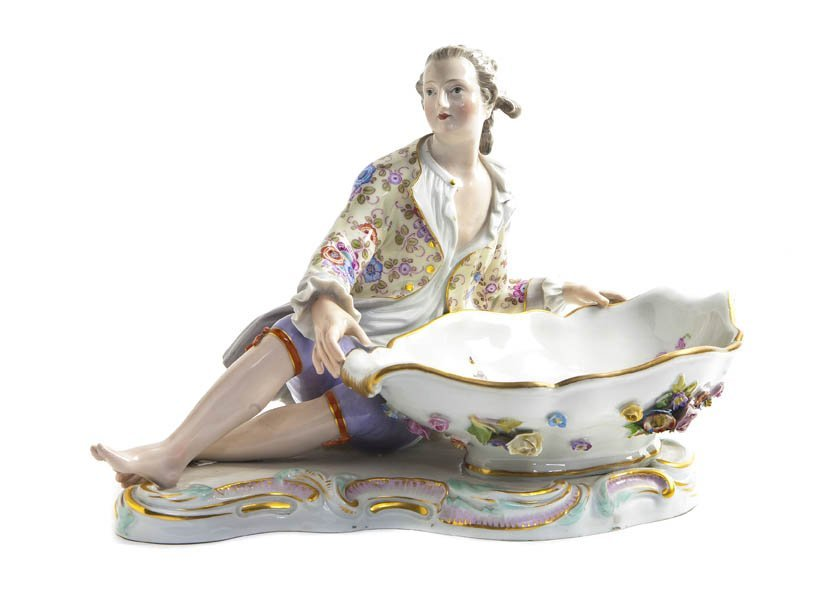 555: A Meissen Porcelain Figural Master Salt, Height 7
