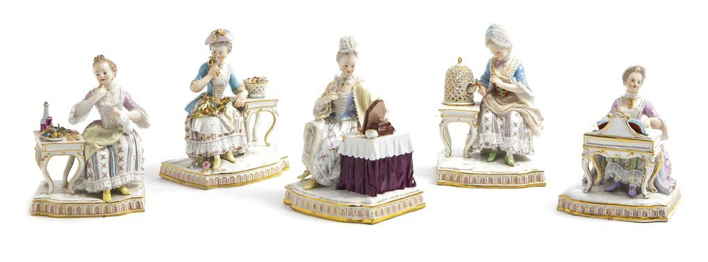 557: A Set of Five Meissen Figures Emblematic of the Se