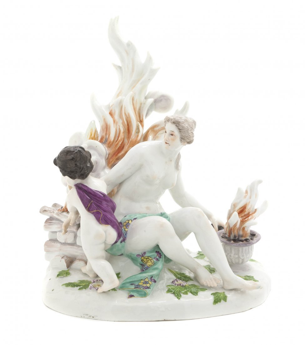 558: A Meissen Porcelain Figural Group Emblematic of Fi