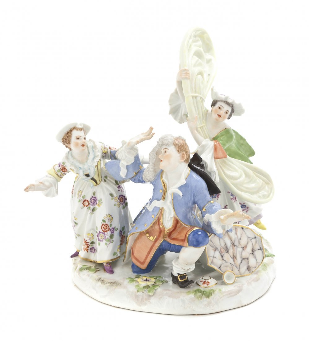 561: A Meissen Porcelain Figural Group, Height 8 inches