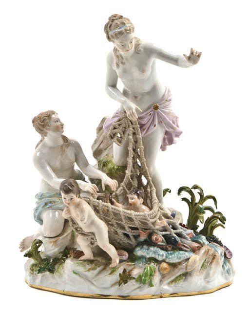 563: A Meissen Porcelain Allegorical Group, Height 11 3