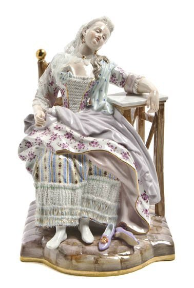 565: A Meissen Porcelain Figure, Height 7 1/2 inches.