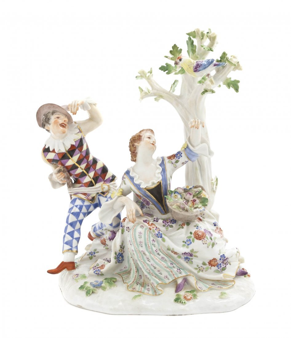 580: A Meissen Porcelain Figural Group, Height 7 inches