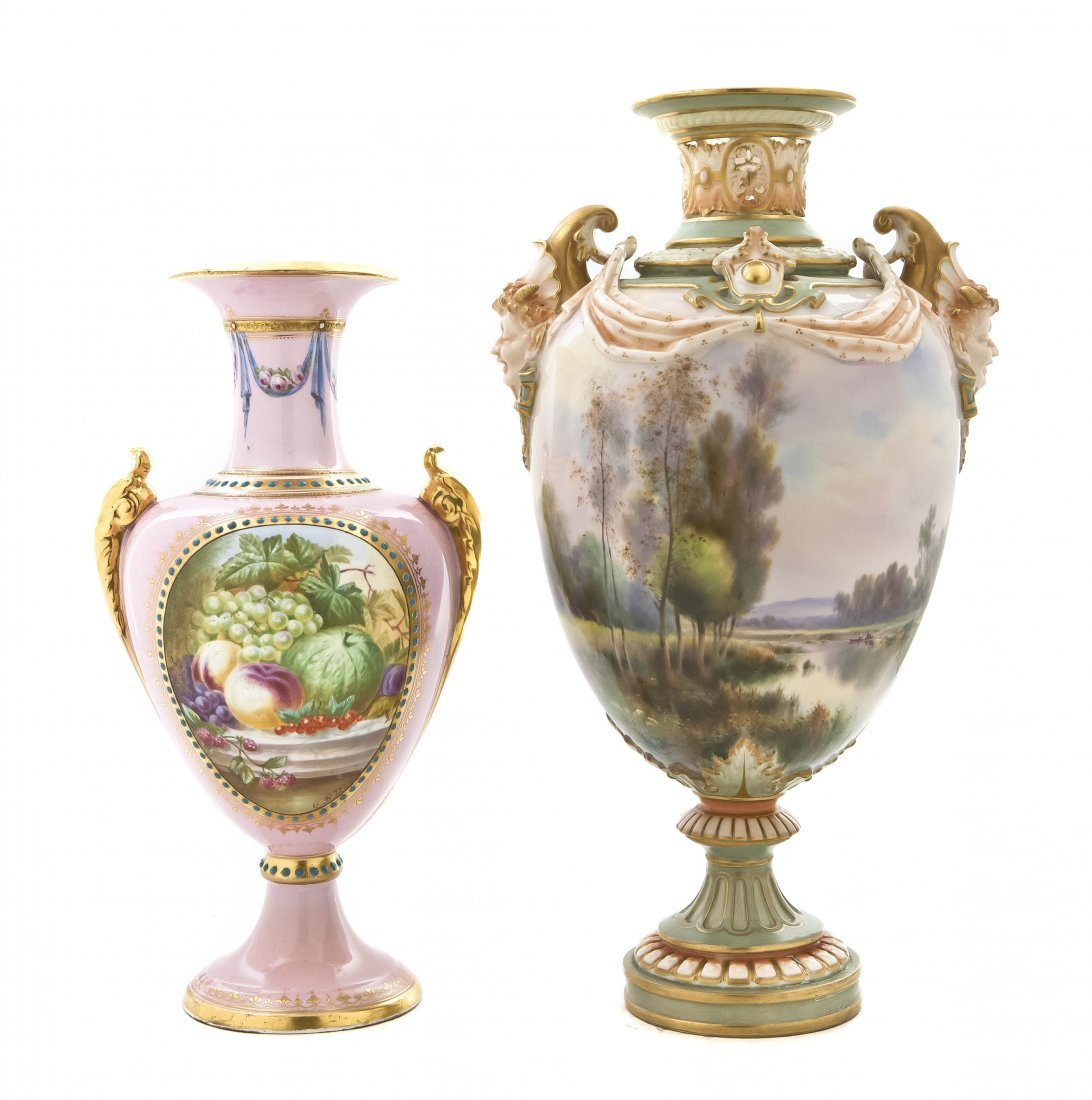 725: A Royal Worcester Porcelain Urn, Height of first 1