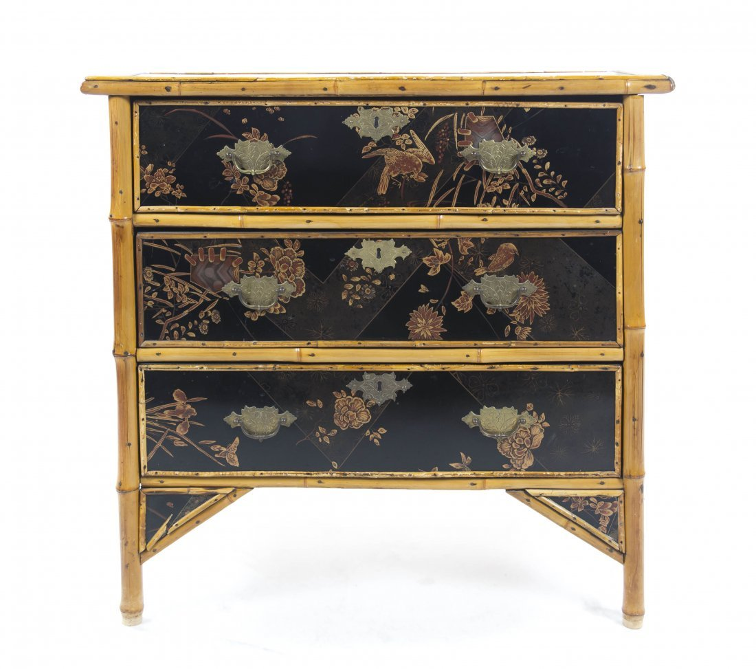 834: An English Victorian Lacquered Bamboo Chest of Dra