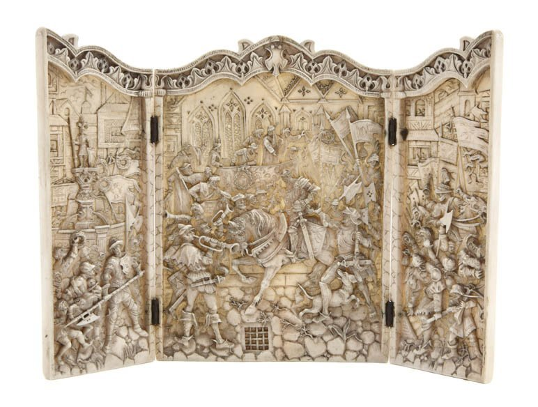 989: A Continental Carved Ivory Triptych, Height 6 1/8