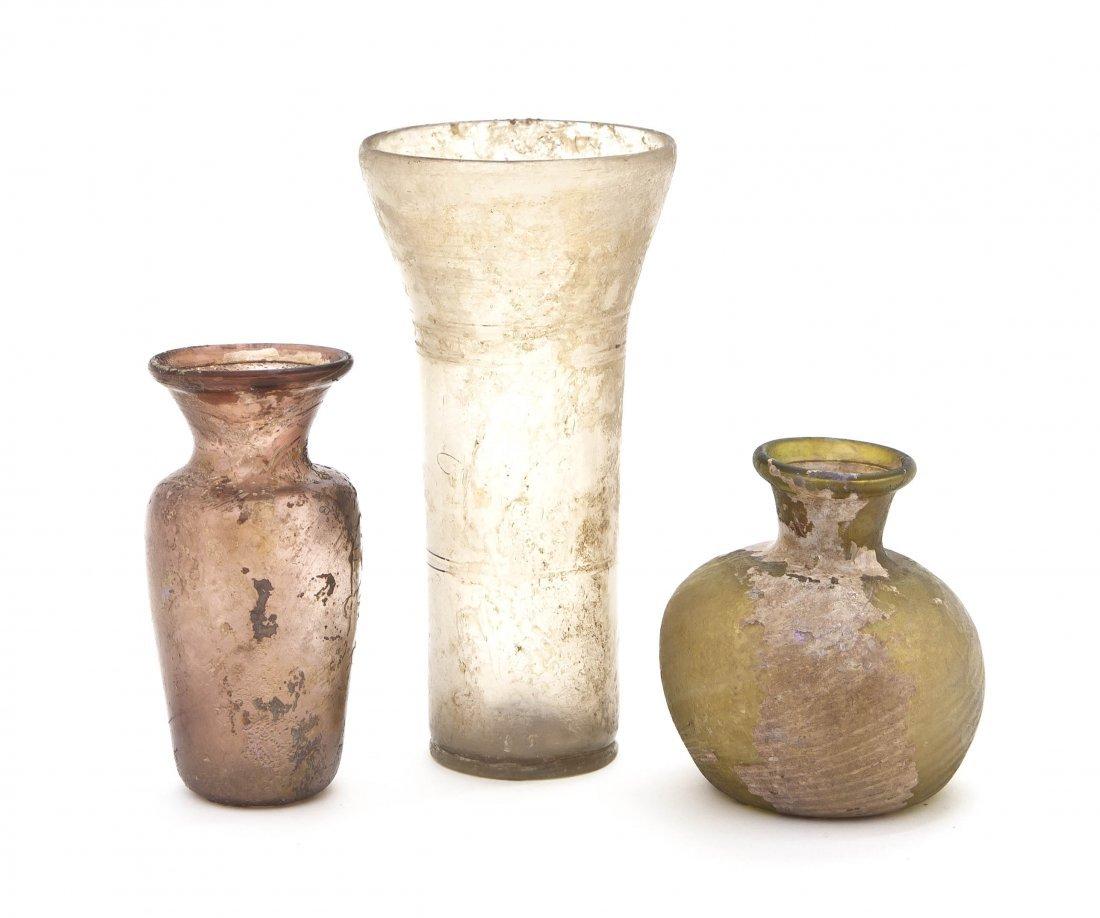 1033: Three Iridescent Glass Vases, Height of tallest 6