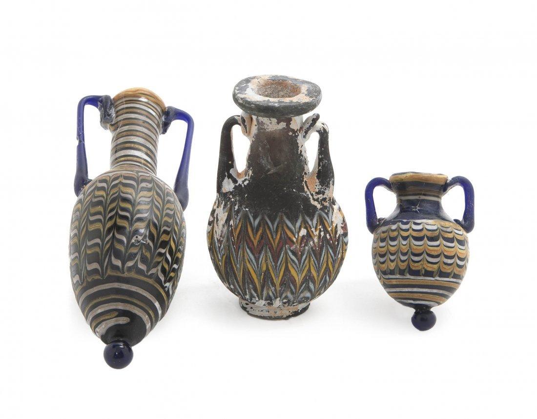 1034: Three Roman Glass Bottles, Height of tallest 6 1/