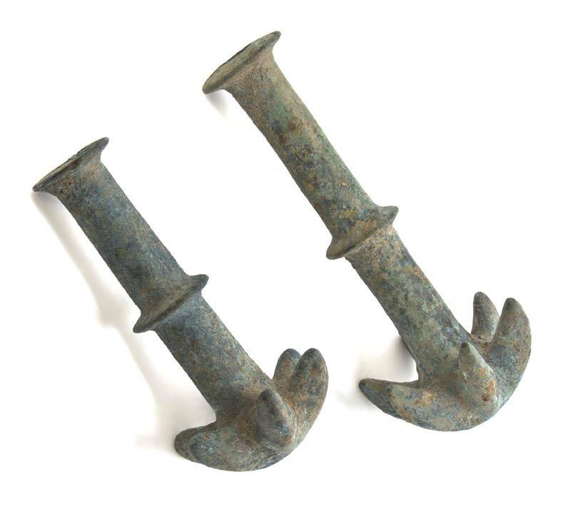 1037: Two Greco-Roman Bronze Anchors, Length of longer