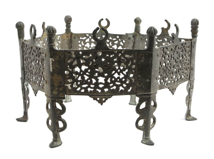 1044: A Middle Eastern Cast Metal Base, Height 10 x dia