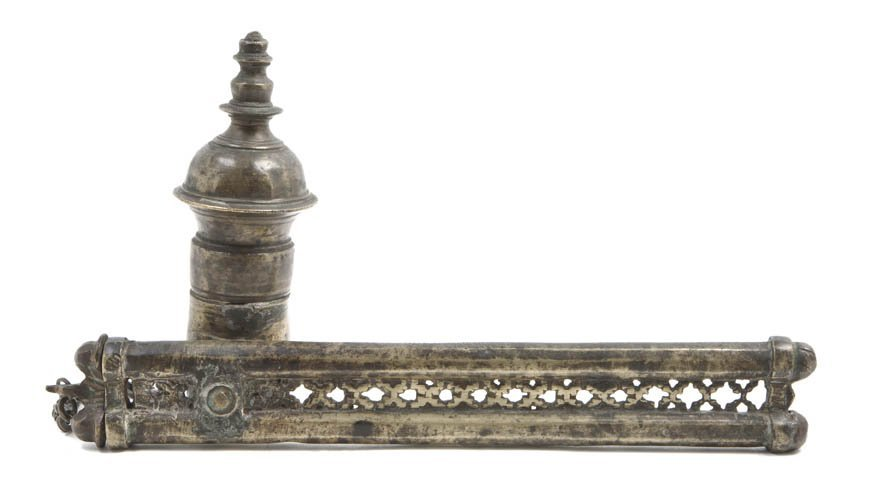 1050: A Middle Eastern Brass Writing Box, Height 6 7/8