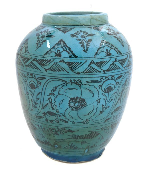 1051: A Middle Eastern Turquoise Glaze Pottery Vase, He