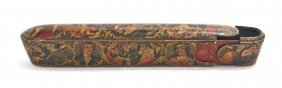 A Persian Lacquered Wood And Papier Mache Pen Box