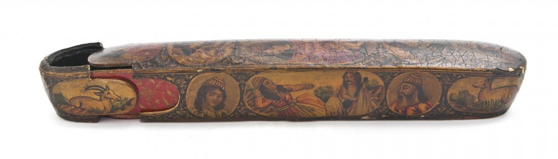 1056: A Persian Lacquered Wood and Papier Mache Pen Box