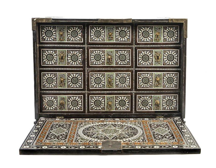 1057: A Middle Eastern Ebonized Wood and Bone Inlaid Ta