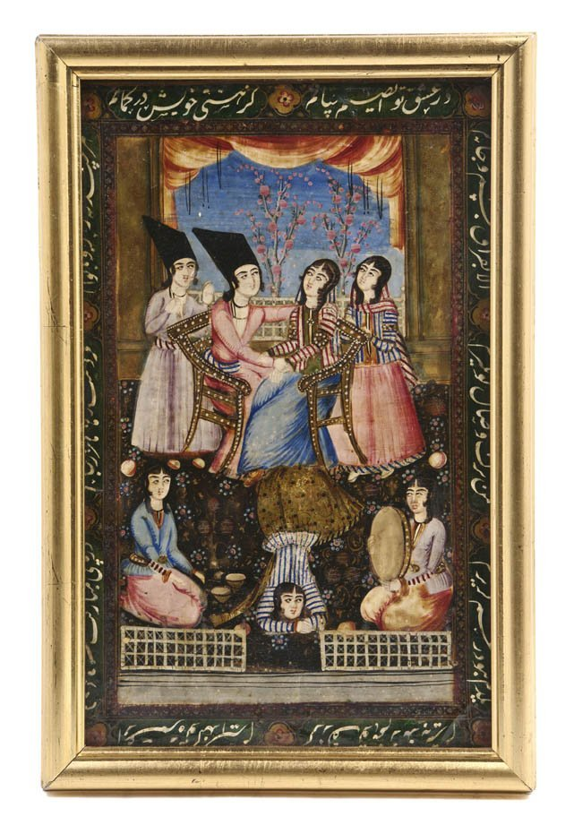1059: A Persian Lacquered Painting on Board, Height 14