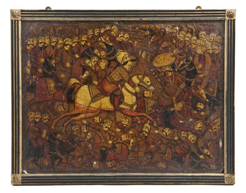 1060: A Persian Lacquered Painting on Board, Height 14