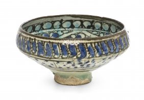 A Sultanabad Pottery Bowl, Diameter 7 5/8 Inches.