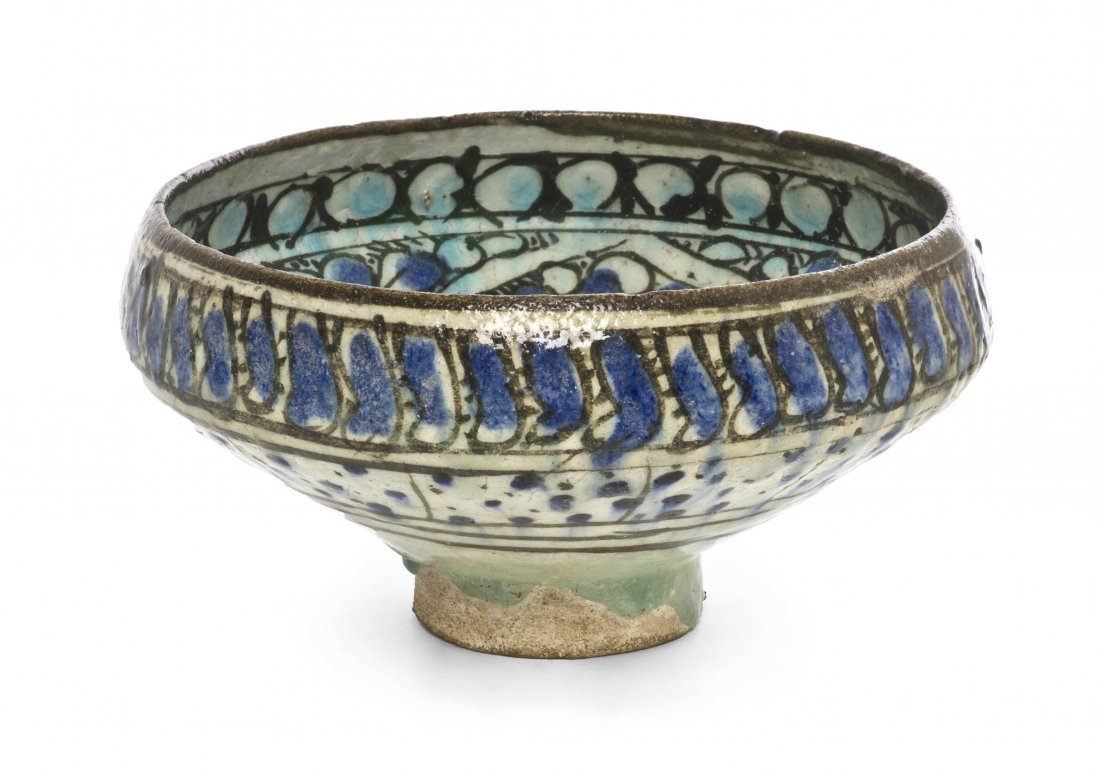 1067: A Sultanabad Pottery Bowl, Diameter 7 5/8 inches.