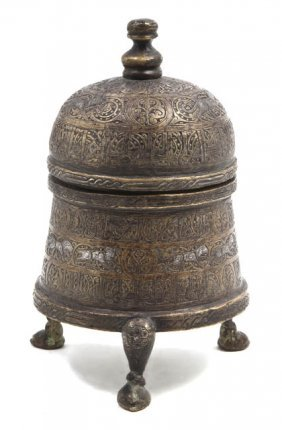 A Middle Eastern Silver Inlaid Bronze Box, Height