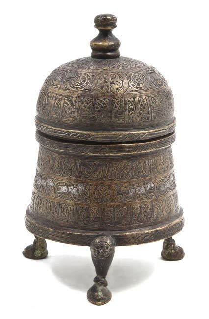1070: A Middle Eastern Silver Inlaid Bronze Box, Height