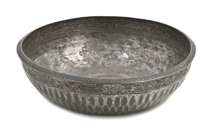1080: A Middle Eastern Silvered Metal Bowl, Diameter 6