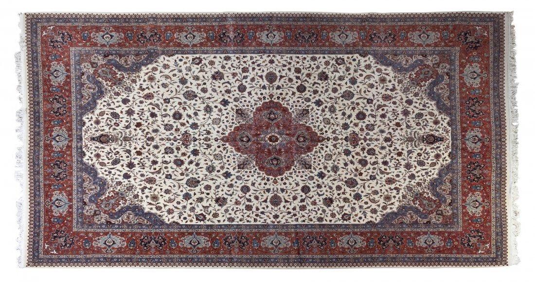 1136: A Kashan Wool Rug, 12 feet x 18 feet.