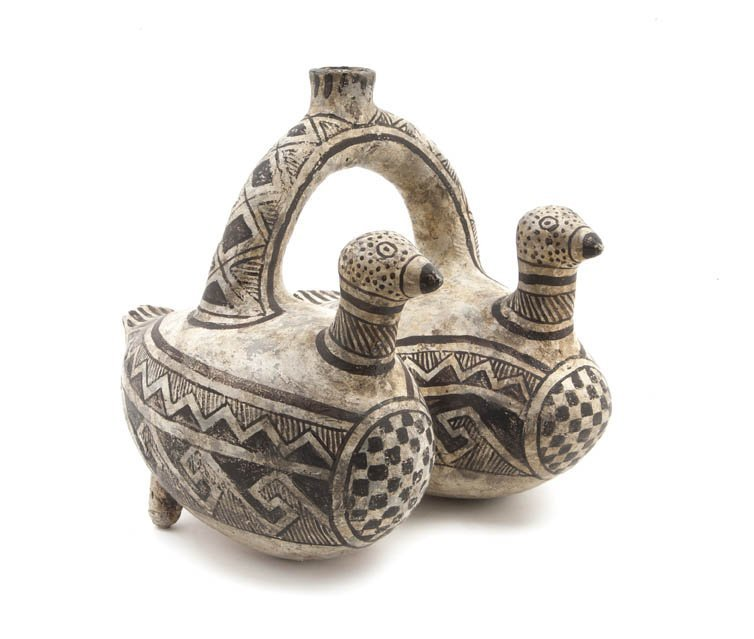1142: A Native American Double Bird Form Pottery Vessel