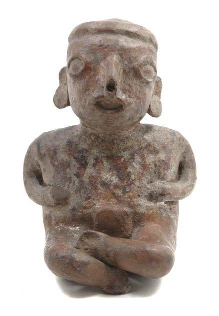 1145: A Nayarit Seated Terracotta Figure, Height 8 1/4