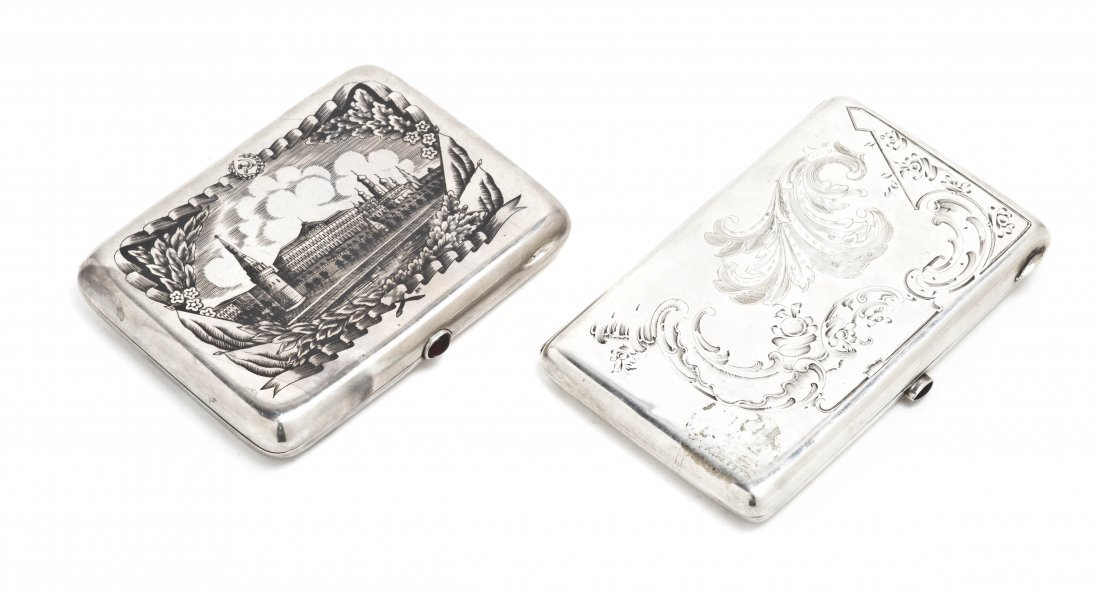 1252: Two Russian Silver Cigarette Cases, Width of larg
