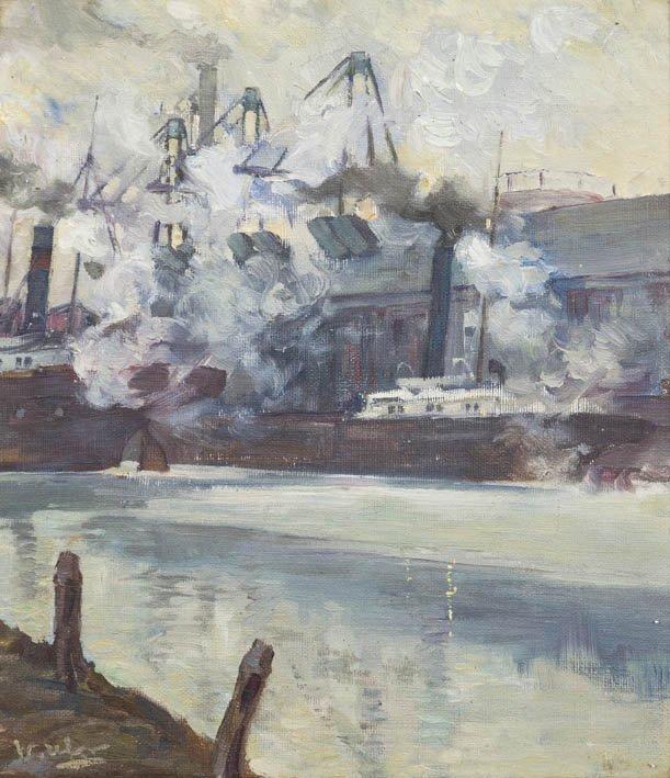 66: Walter Ufer, (American, 1876-1936), Steam Ships in