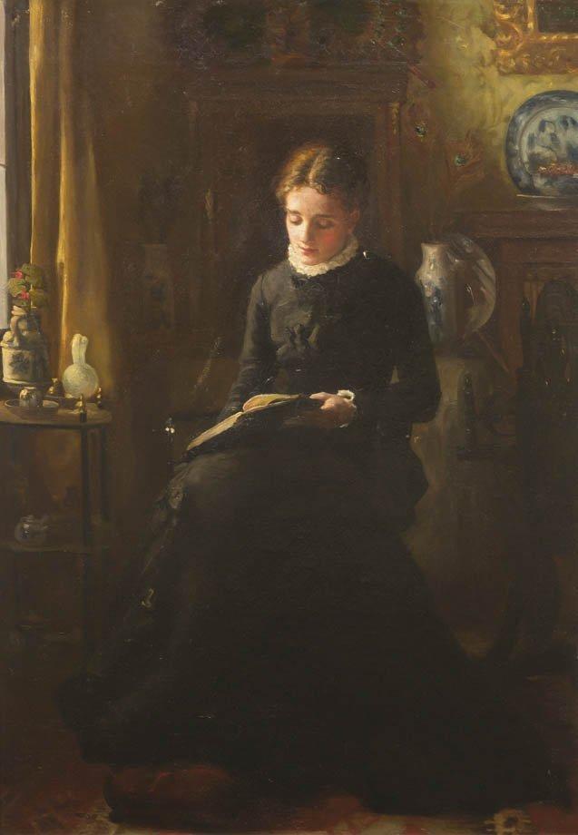 69: F. Martin, (American, 19th century), The Student, 1
