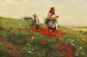 Joseph Tomanek, (American, 1889-1974), Poppy Fields
