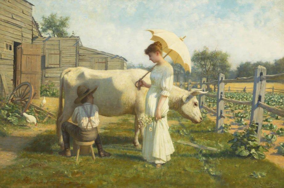 77: De Scott Evans, (American, 1847-1898), City Cousins