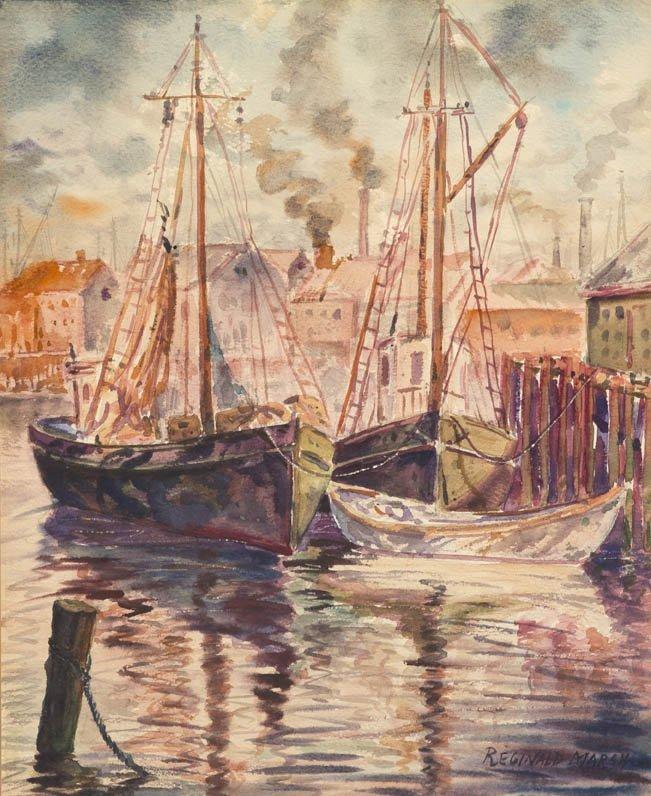 114: Reginald Marsh, (American, 1898-1954), Boats in th