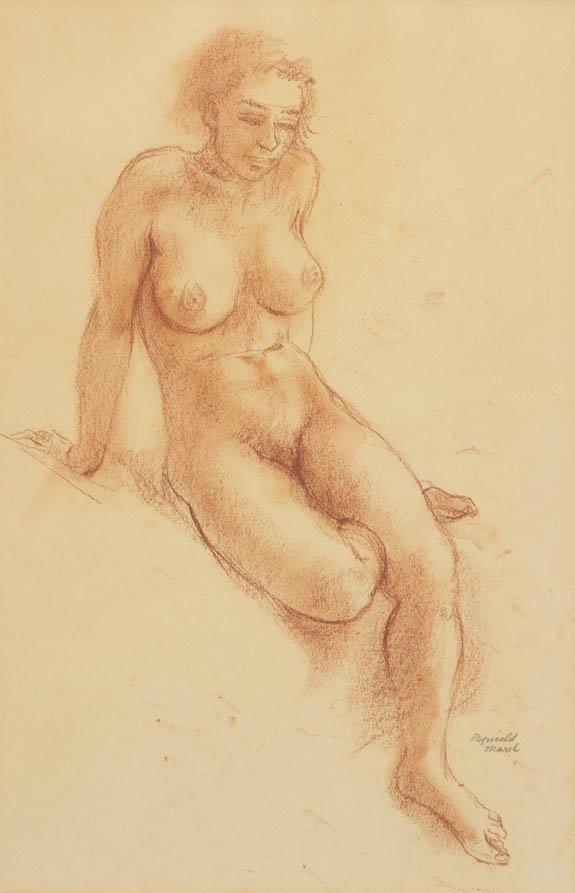 117: Reginald Marsh, (American, 1898-1954), Seated Nude