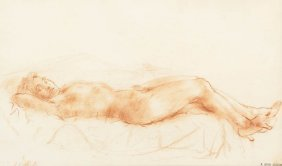 Reginald Marsh, (American, 1898-1954), Reclining N