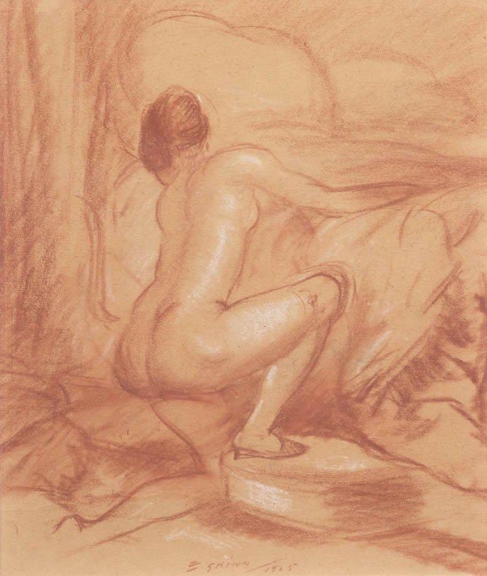 119: Everett Shinn, (American, 1876-1953), Kneeling Nud