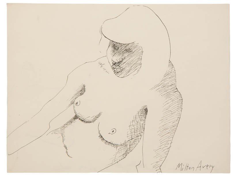 121: Milton Avery, (American, 1885-1965), Female Torso,