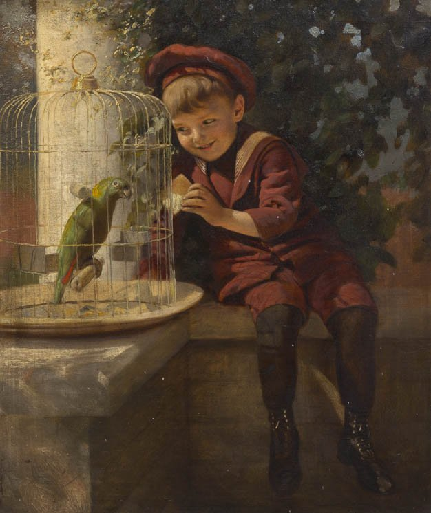 326: Artist Unknown, (19th century), Boy with Parrot