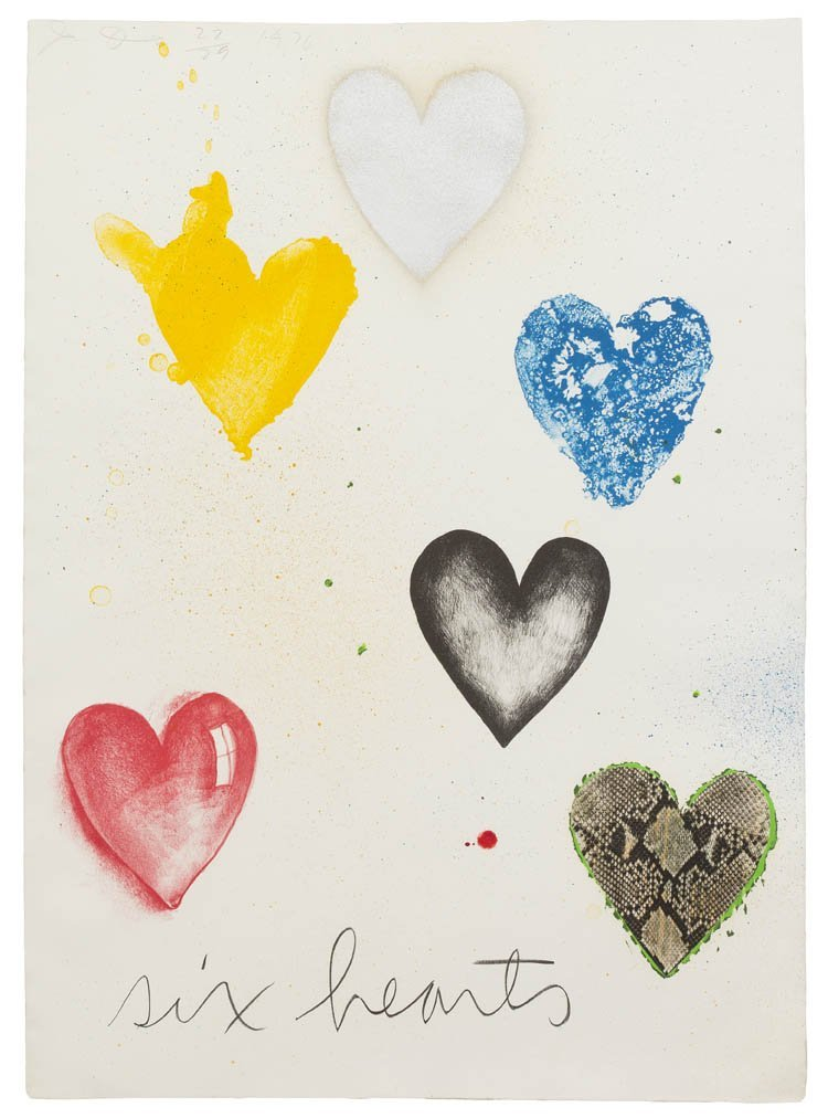 1003: Jim Dine, (American, b. 1935), Six Hearts, 1970