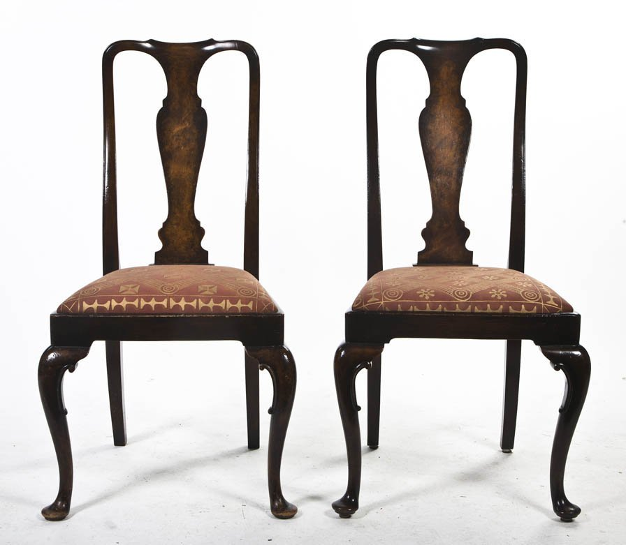 2001: A Pair of Queen Anne Style Side Chairs, Height 40