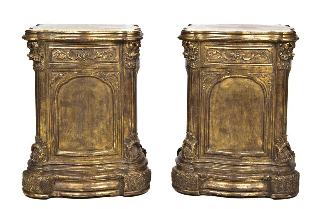 2006: A Pair of Neoclassical Style Giltwood Pedestals,