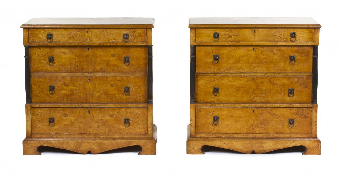2007: A Pair of Biedermeier Style Four Drawer Commodes,