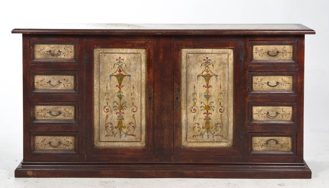 2011: A Venetian Style Painted Sideboard, Height 41 x w