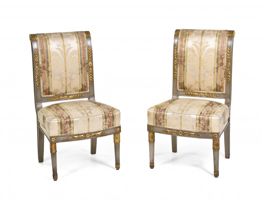 2012: A Pair of Directoire Style Painted and Parcel Gil